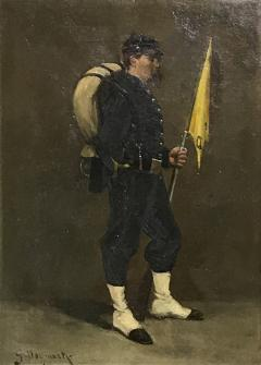 Small 19th Century Portrait of Infantryman Signed Heymark - 1711190