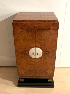 Small Art Deco Cabinet Amboyna Roots Leather and Brass France circa 1930 - 1961748