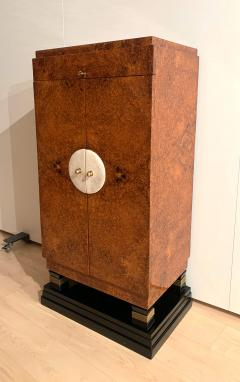 Small Art Deco Cabinet Amboyna Roots Leather and Brass France circa 1930 - 1961749