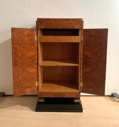 Small Art Deco Cabinet Amboyna Roots Leather and Brass France circa 1930 - 1961753