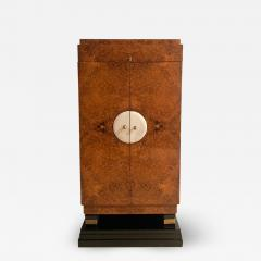 Small Art Deco Cabinet Amboyna Roots Leather and Brass France circa 1930 - 1962622