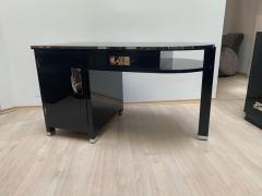 Small Art Deco Desk with Column Leg Black Lacquer and Metal France circa 1930 - 1481449