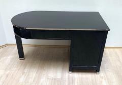 Small Art Deco Desk with Column Leg Black Lacquer and Metal France circa 1930 - 1481459