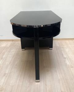 Small Art Deco Desk with Column Leg Black Lacquer and Metal France circa 1930 - 1481465
