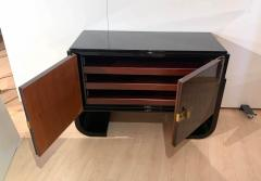 Small French Art Deco Sideboard Macassar and Black Lacquer 1930s - 1958750