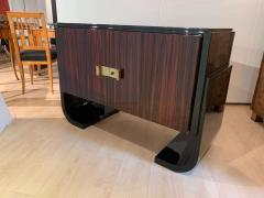 Small French Art Deco Sideboard Macassar and Black Lacquer 1930s - 1958752