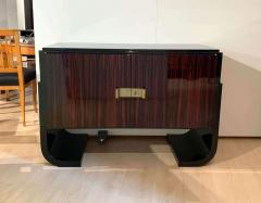 Small French Art Deco Sideboard Macassar and Black Lacquer 1930s - 1958753