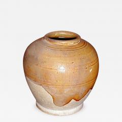 Small Glazed Earthenware Jar with Amber Glaze - 305248
