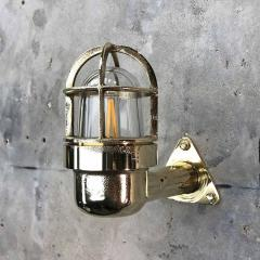 Small Industrial Brass Wall Light Glass Dome with Cage - 960661
