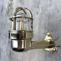 Small Industrial Brass Wall Light Glass Dome with Cage - 960663
