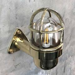 Small Industrial Brass Wall Light Glass Dome with Cage - 960666