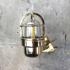 Small Industrial Brass Wall Light Glass Dome with Cage - 960668