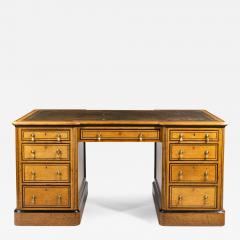 Small Victorian oak and ebony partner s desk attributed to Holland and Son - 1129185