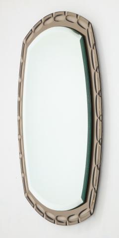 Smoked Glass Beveled Edge Mirror Italy c 1950s - 1166480