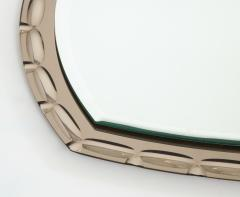 Smoked Glass Beveled Edge Mirror Italy c 1950s - 1166481