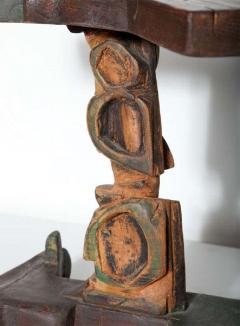 Smokey Tunis Smokey Tunis Handcrafted Tiki Pine Table 1950s - 1726308