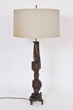 Smokey Tunis Tall Smokey Tunis Hand Carved Poplar Table Lamp 1969 - 1572343