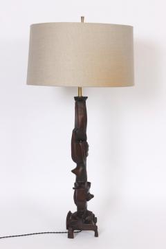 Smokey Tunis Tall Smokey Tunis Hand Carved Poplar Table Lamp 1969 - 1572376