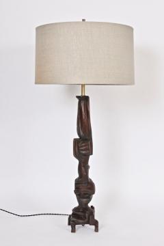 Smokey Tunis Tall Smokey Tunis Hand Carved Poplar Table Lamp 1969 - 1572378
