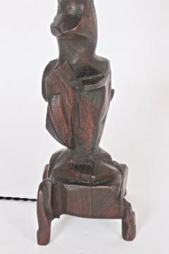 Smokey Tunis Tall Smokey Tunis Hand Carved Poplar Table Lamp 1969 - 1572380
