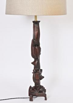 Smokey Tunis Tall Smokey Tunis Hand Carved Poplar Table Lamp 1969 - 1572382