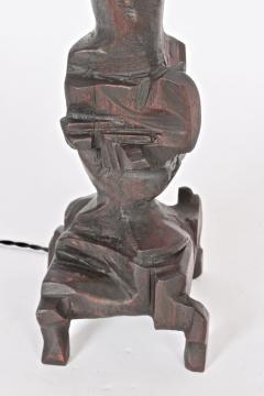 Smokey Tunis Tall Smokey Tunis Hand Carved Poplar Table Lamp 1969 - 1572384