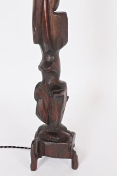 Smokey Tunis Tall Smokey Tunis Hand Carved Poplar Table Lamp 1969 - 1572385
