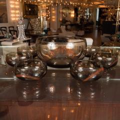 Smoky Murano Glass Petite Punch Bowl and Matching Glasses - 368884