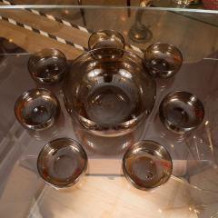 Smoky Murano Glass Petite Punch Bowl and Matching Glasses - 368885