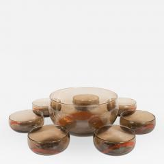 Smoky Murano Glass Petite Punch Bowl and Matching Glasses - 370409