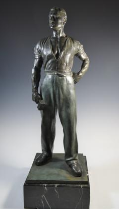 Social Realist Bronze of a Worker WPA Style  - 1392889