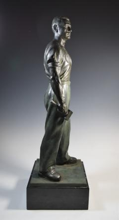 Social Realist Bronze of a Worker WPA Style  - 1392890