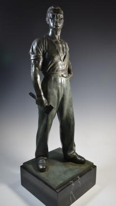 Social Realist Bronze of a Worker WPA Style  - 1392892