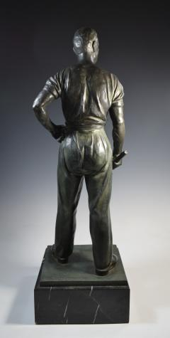 Social Realist Bronze of a Worker WPA Style  - 1392893