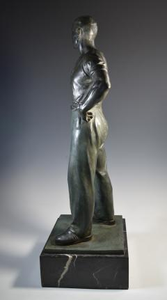 Social Realist Bronze of a Worker WPA Style  - 1392894