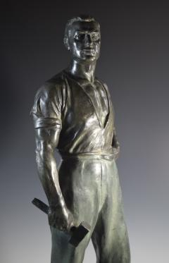 Social Realist Bronze of a Worker WPA Style  - 1392897