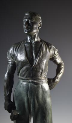 Social Realist Bronze of a Worker WPA Style  - 1392898