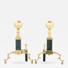 Solid Brass Marble Pair Regency Style Andirons - 1966841