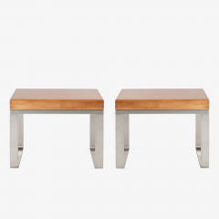 Solid Wood Accent Bench Tables with Steel Bases Pair - 1430698