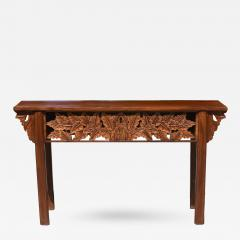 Solid Wood Asian Console Table with Carvings of Foliage