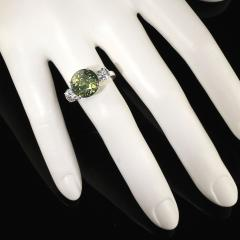 Sophisticated Big Deal Green and White Zircon Cocktail Ring from Gemjunky - 1908950