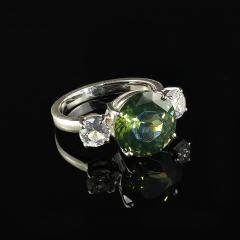 Sophisticated Big Deal Green and White Zircon Cocktail Ring from Gemjunky - 1908951