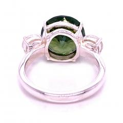Sophisticated Big Deal Green and White Zircon Cocktail Ring from Gemjunky - 1908952