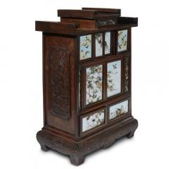 Sosuke Namikawa Japanese Table Cabinet with Cloisonne Panels Attributed to Namikawa Sosuke - 996556