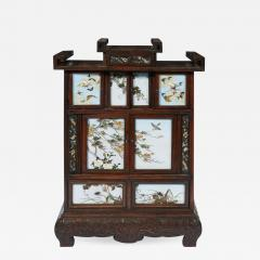 Sosuke Namikawa Japanese Table Cabinet with Cloisonne Panels Attributed to Namikawa Sosuke - 997518