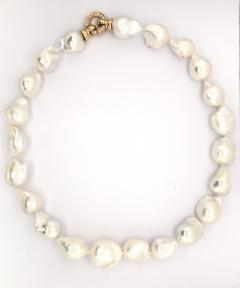 South Sea Baroque Pearl with Yellow gold and diamond Necklace - 1177218