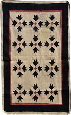 Southwest Art Wall Hanging Handwoven Tapestry in Cream Red and Black 1970s - 2086652