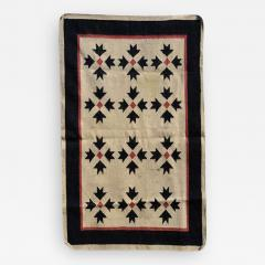 Southwest Art Wall Hanging Handwoven Tapestry in Cream Red and Black 1970s - 2086653