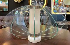 Space Age Italian Marble Base Art Glass Table Lamp circa 1960 - 1232784
