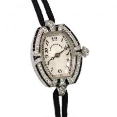 Spaulding Co Art Deco Diamond and Onyx Watch with Cord Band Spaulding Co Swiss Movement - 674984